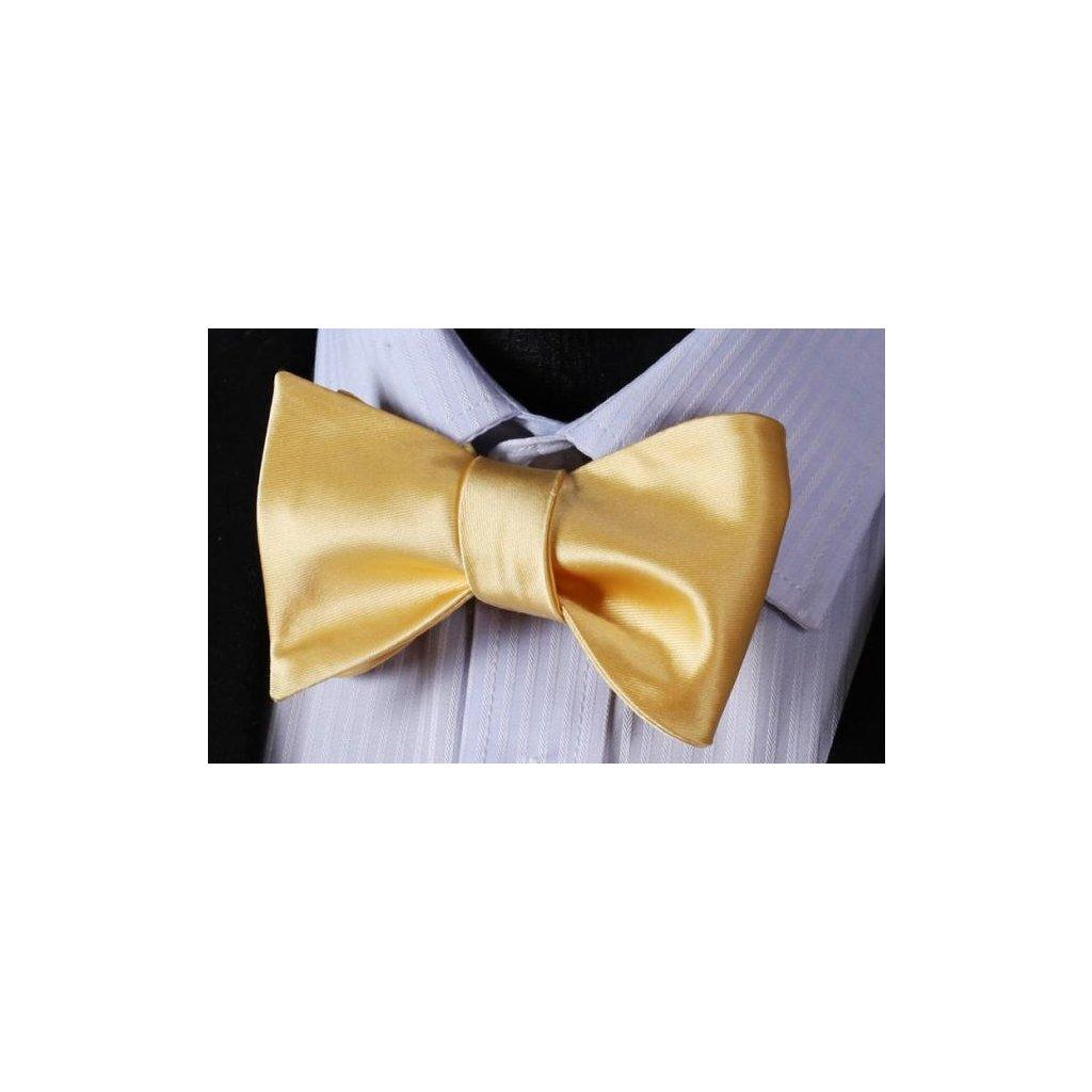 Vázací motýlek na svatbu - žlutý, zlatý s kapesníčkem