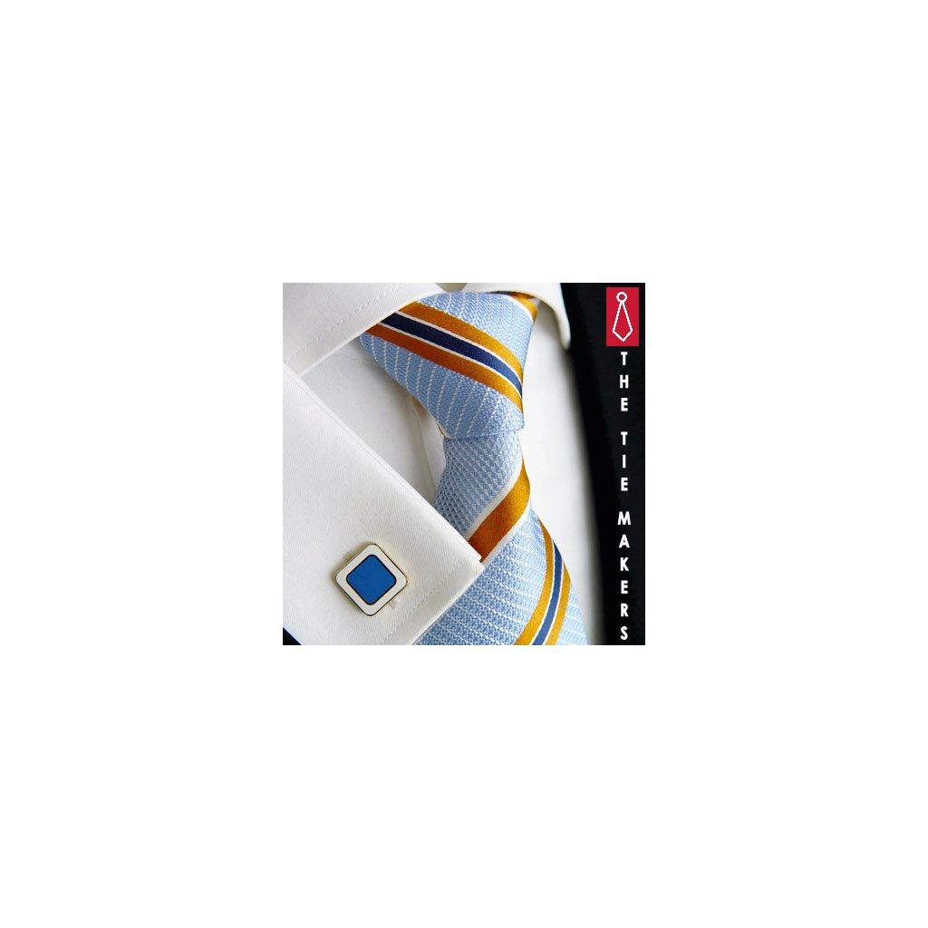 Luxusní hedvábná kravata světle modrá s oranžovým pruhem 210-1