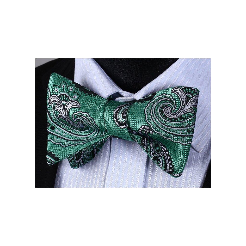Vázací motýlek - zelený paisley