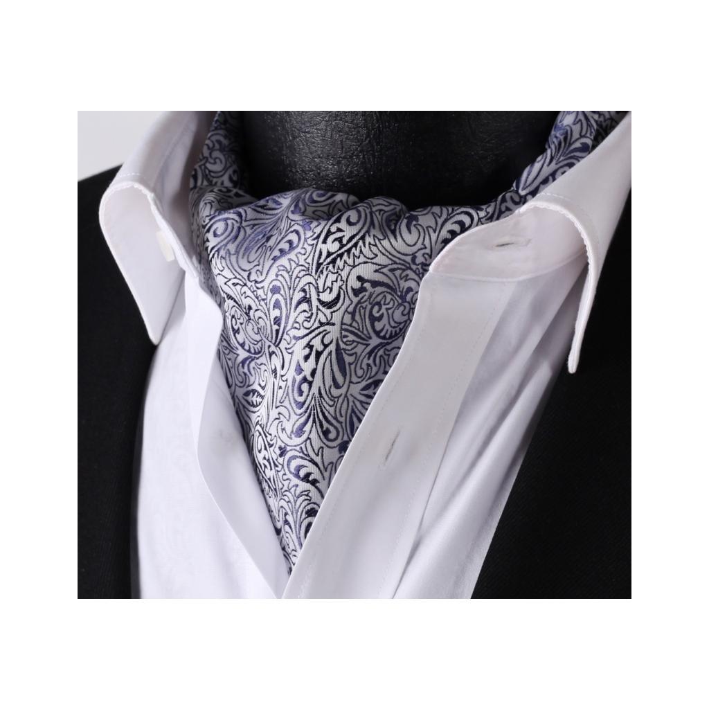 Luxusní hedvábný askot stříbrný s modrým vzorem