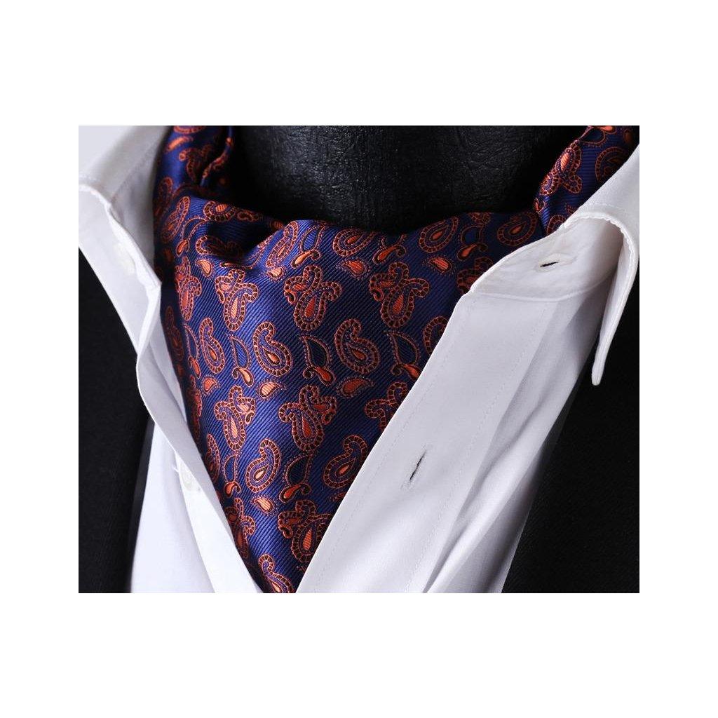 Luxusní hedvábný ascot modrý s oranžovým vzorem