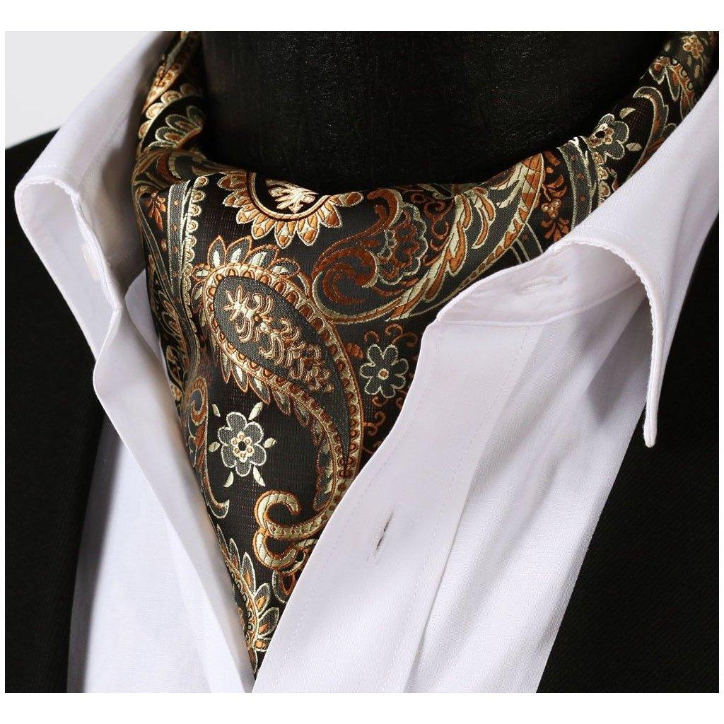 Luxusní hedvábný ascot černo zlatý paisley