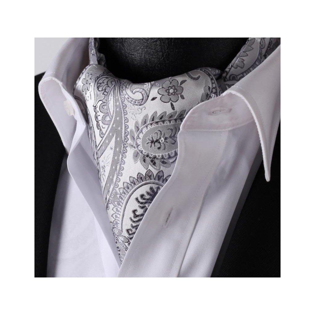 Luxusní hedvábný askot šedý s velkým vzorem