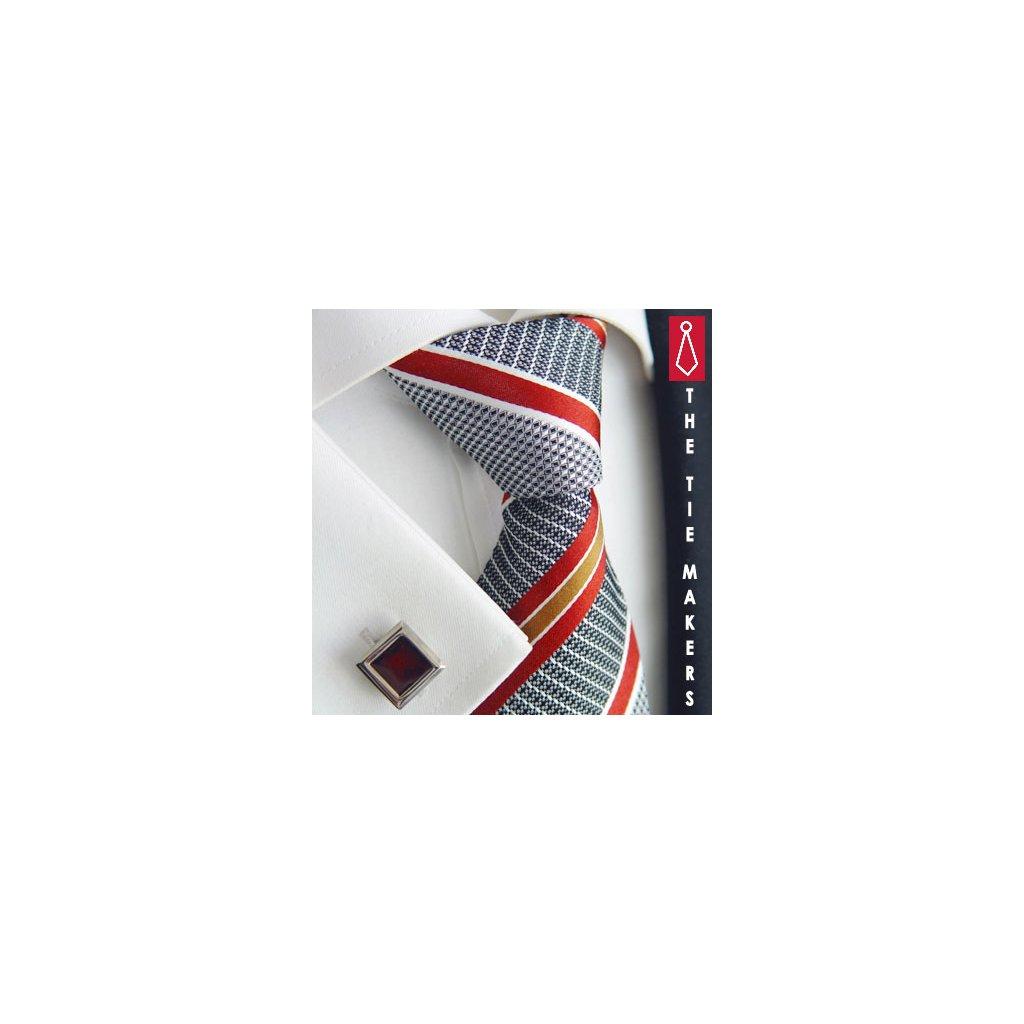 Luxusní hedvábná kravata šedá s červenooranžovým pruhem 210-2