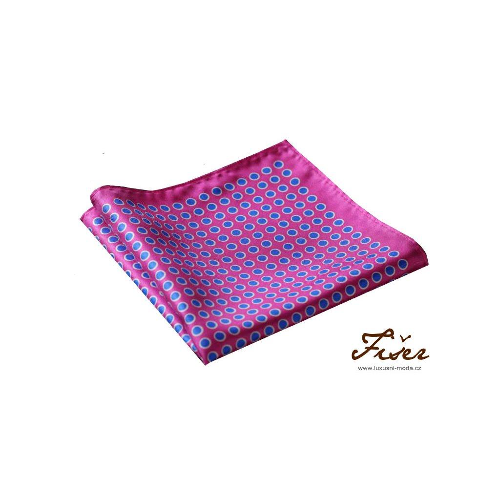 Hedvábný kapesníček růžový modré puntíky FI214