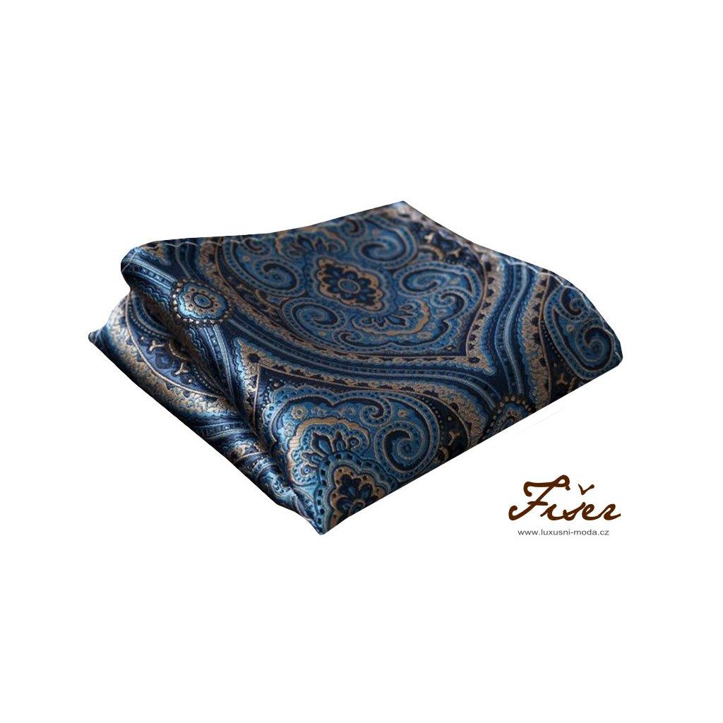 Hedvábný kapesníček modrý vzory paisley FI06