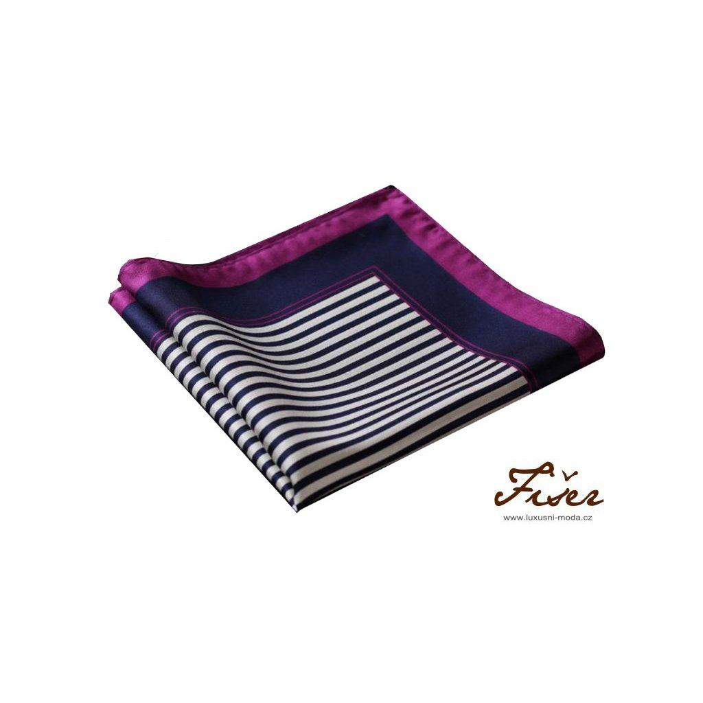 Hedvábný kapesníček fialový proužky FI256