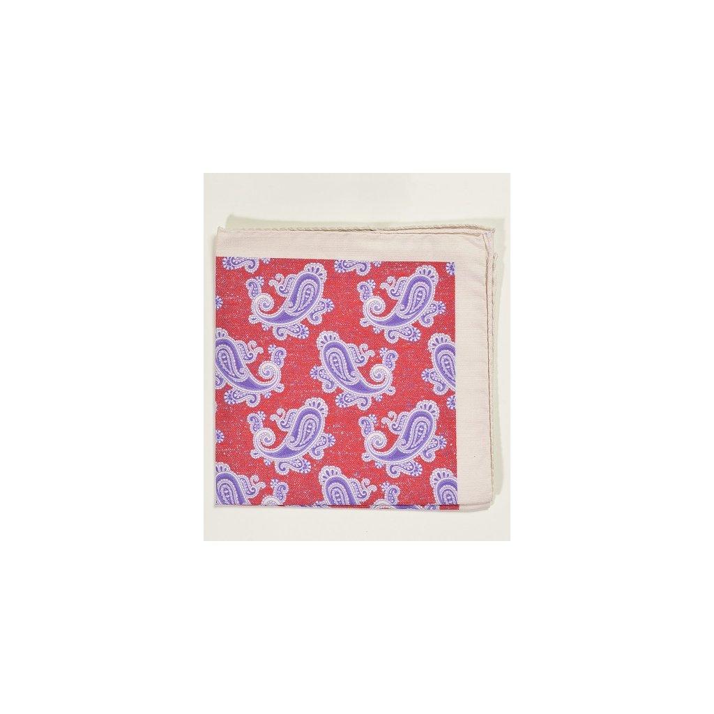 Bavlněný kapesníček Gagliardi - červeno fialový paisley