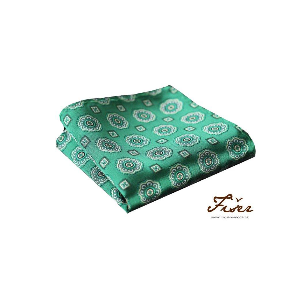 Hedvábný kapesníček zelený velký vzor