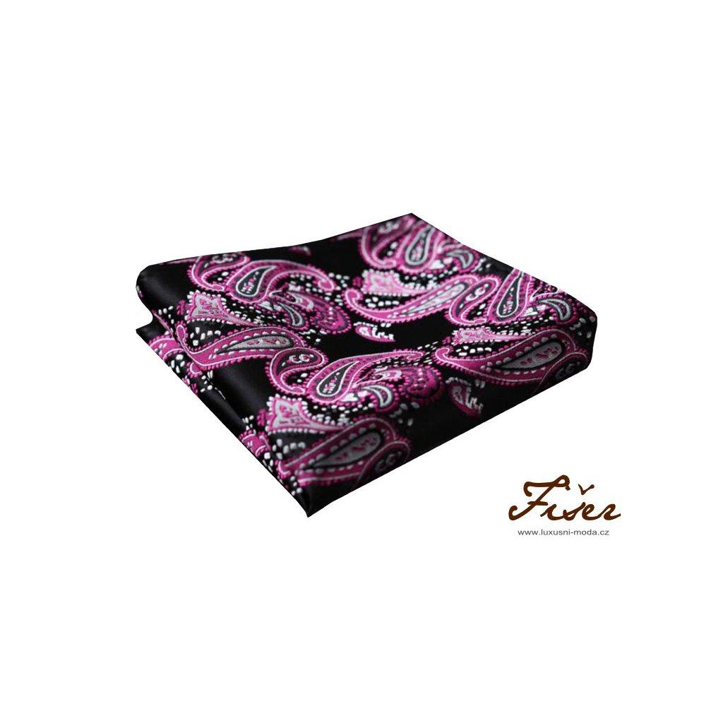 Hedvábný kapesníček černo růžový paisley