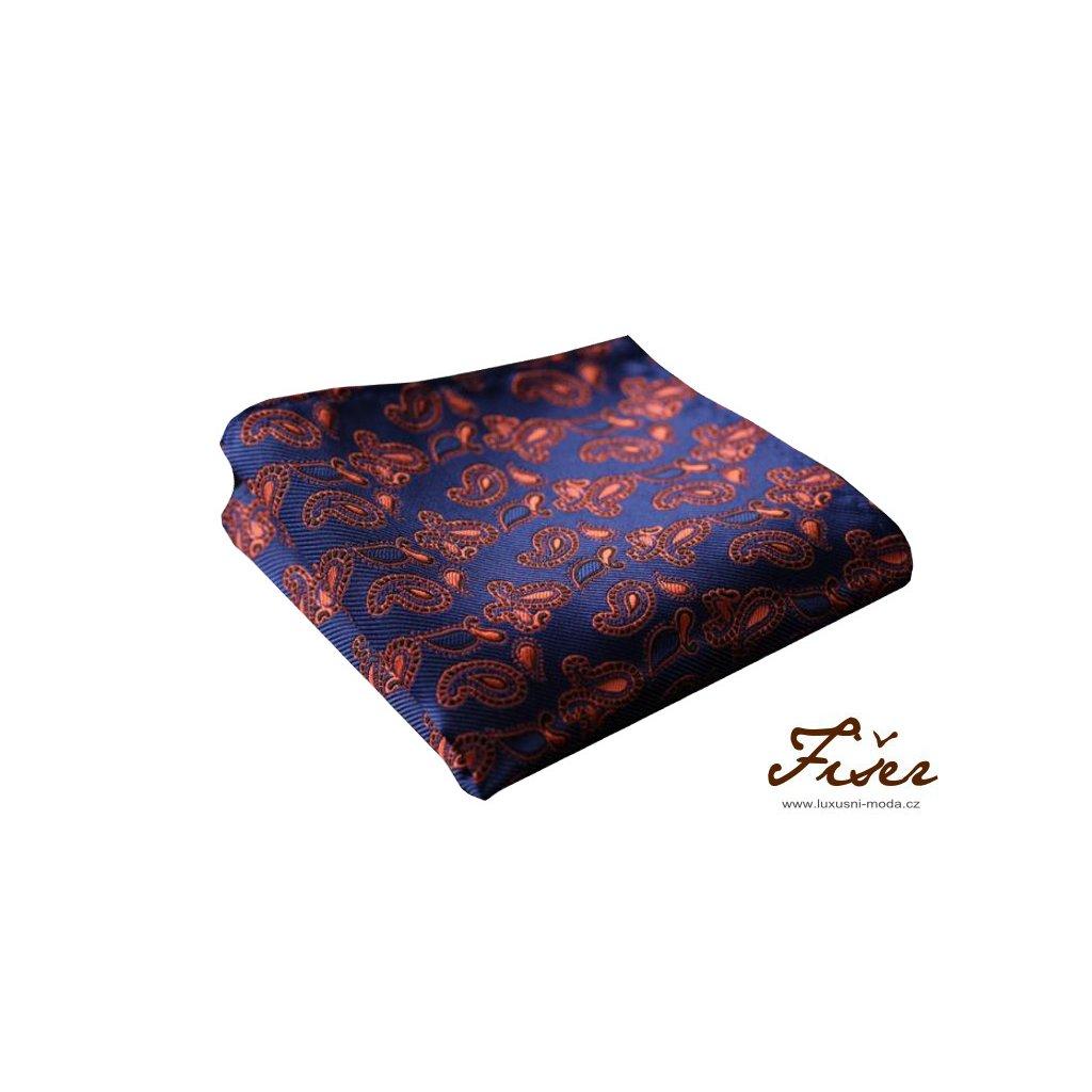 Hedvábný kapesníček modro oranžový paisley