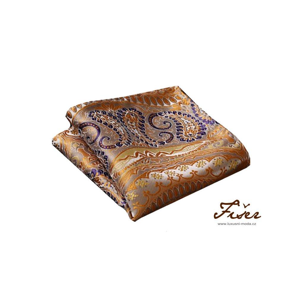 Hedvábný kapesníček zlatý se vzorem