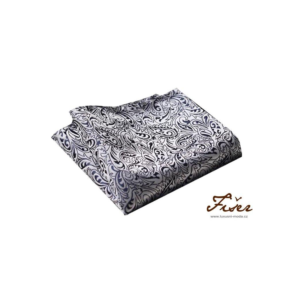 Hedvábný kapesníček stříbrný s černým vzorem