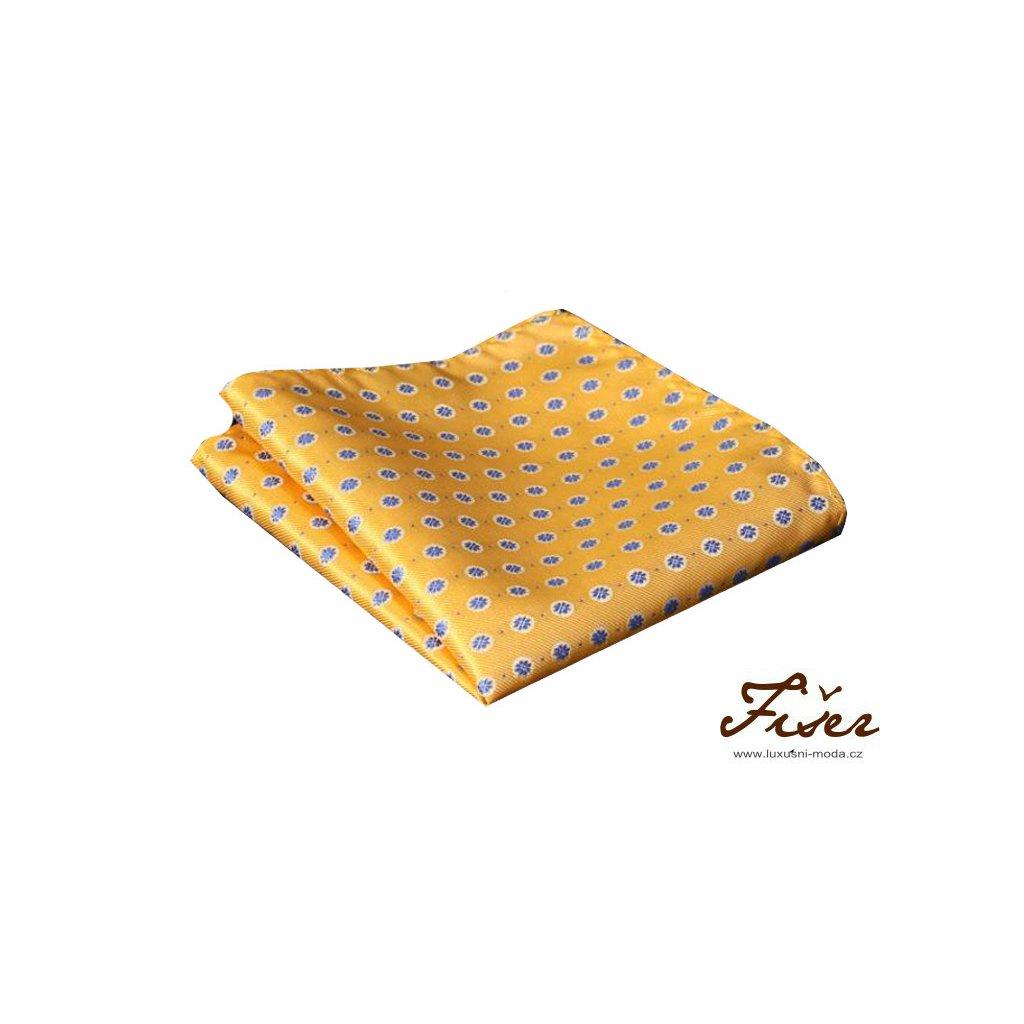 Hedvábný kapesníček žlutý s modrým vzorem