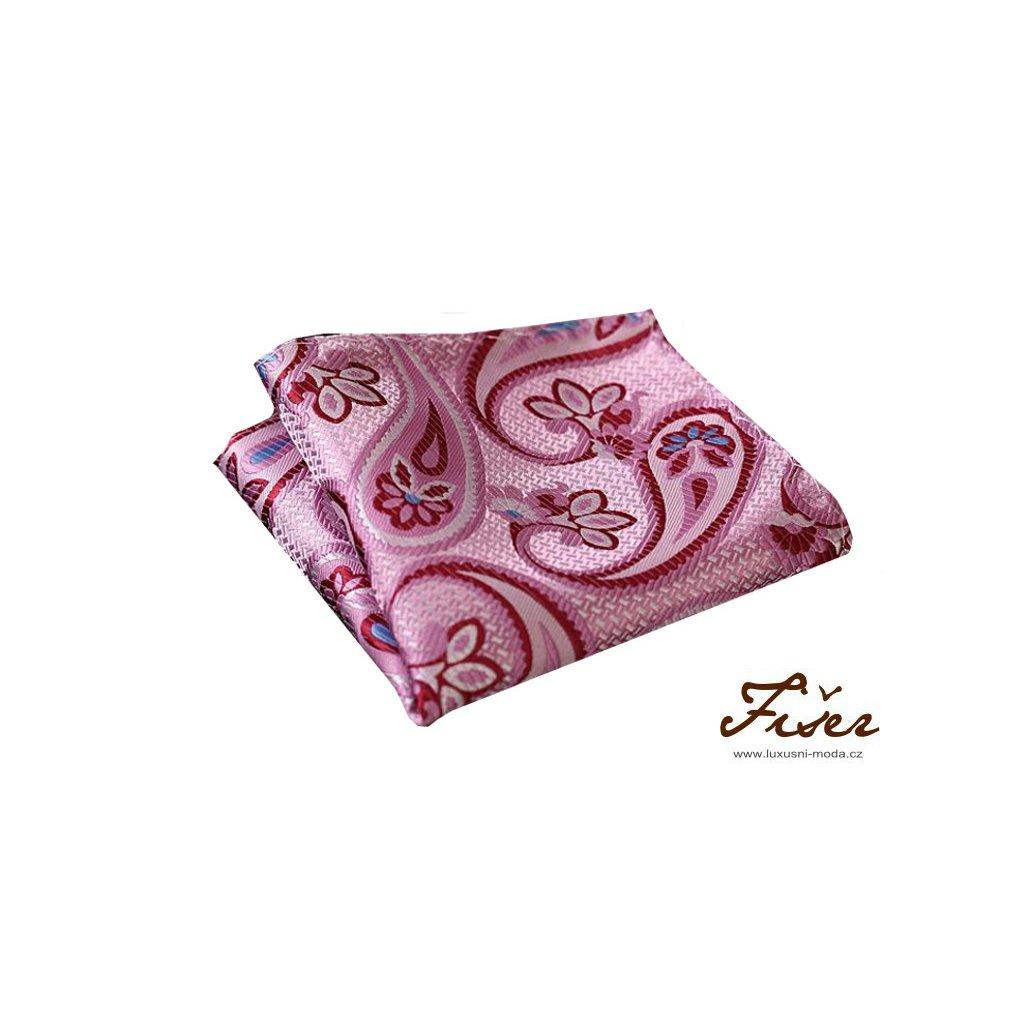 Hedvábný kapesníček růžový s velkým vzorem