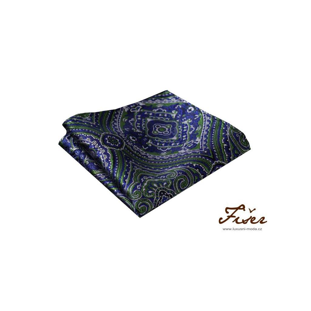 Hedvábný kapesníček modro zelený se vzorem