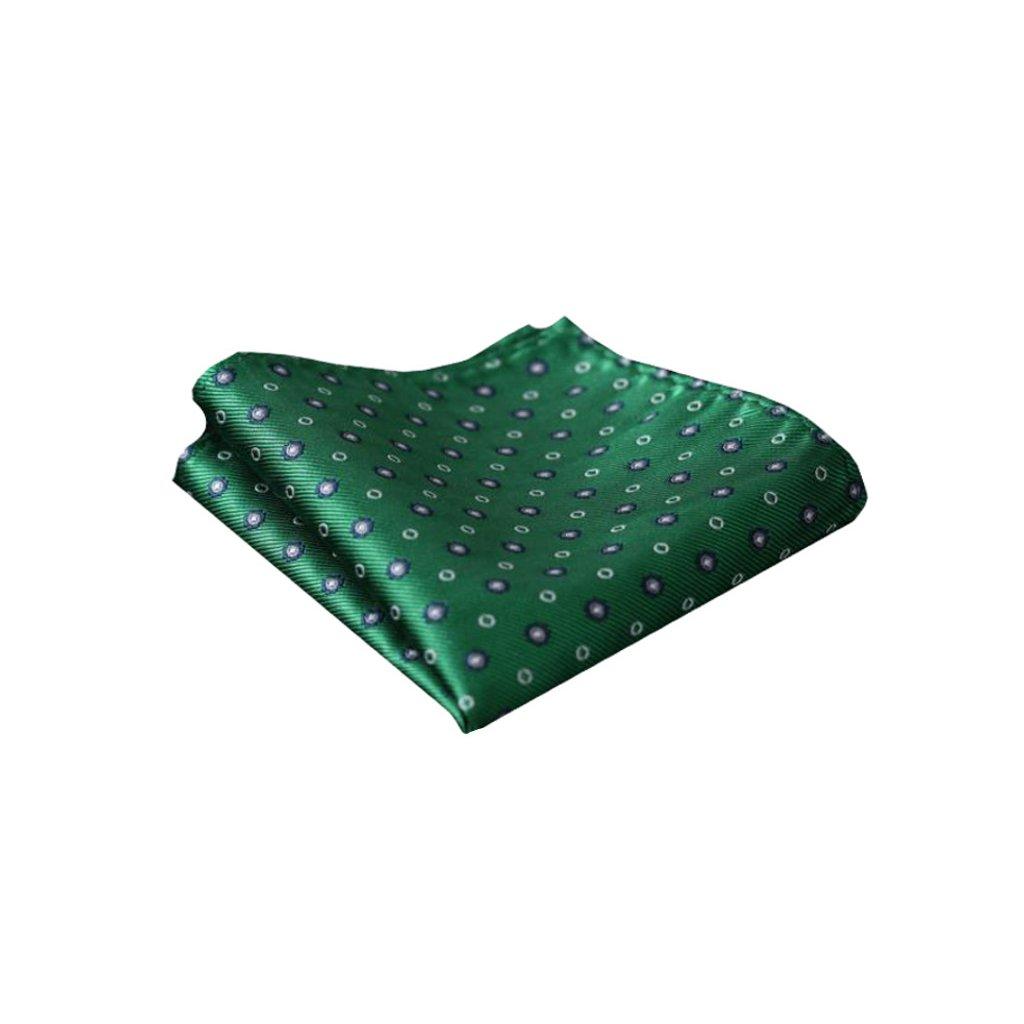 Hedvábný kapesníček zelený s bílo modrým vzorem