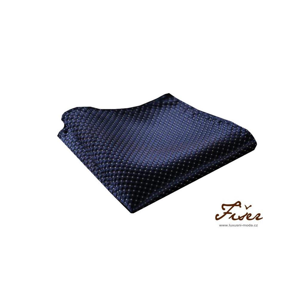Hedvábný kapesníček tmavě modrý - kostička