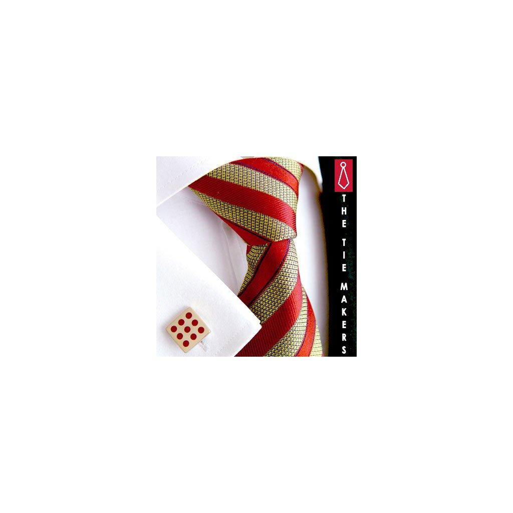 Luxusní hedvábná kravata zlatá s oranžovým pruhem 211-2