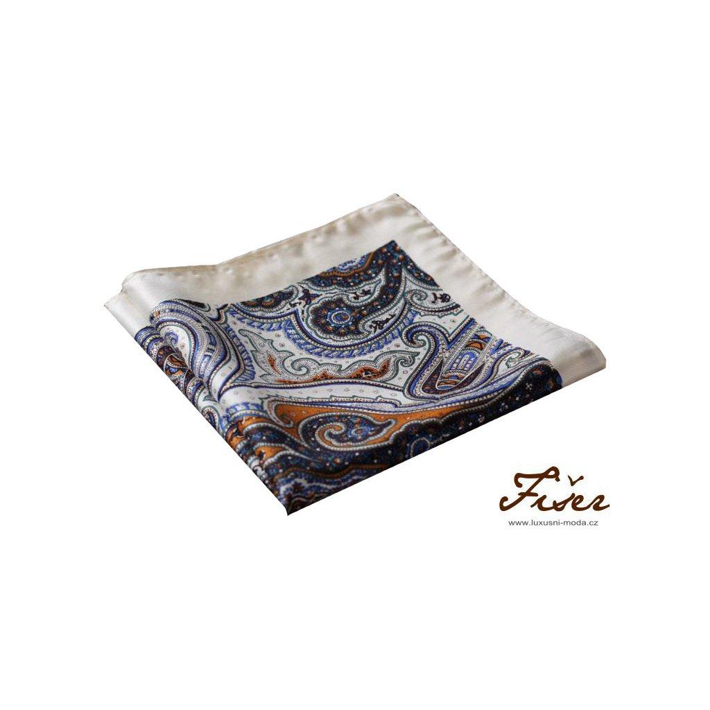 Hedvábný kapesníček krémový s tmavým vzorem