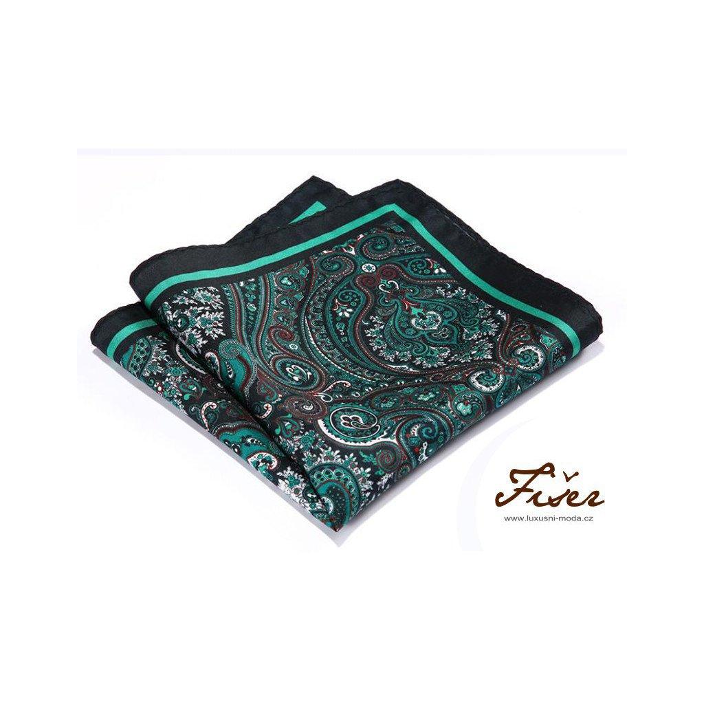 Luxusní hedvábný kapesníček zelený