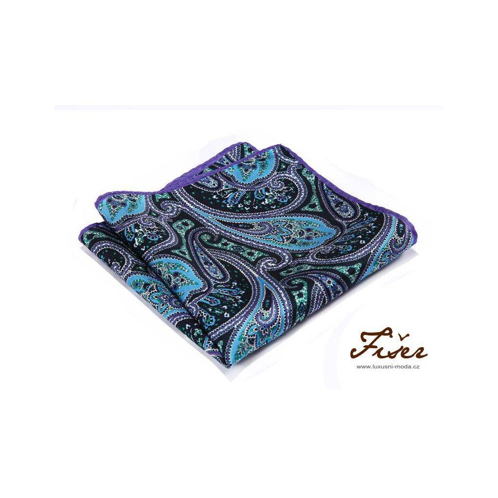 Luxusní hedvábný kapesníček fialovo modrý