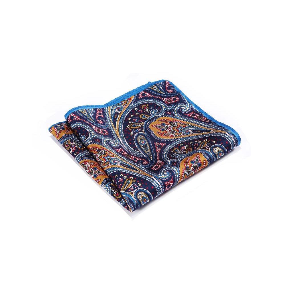 Luxusní hedvábný kapesníček modro oranžový paisley
