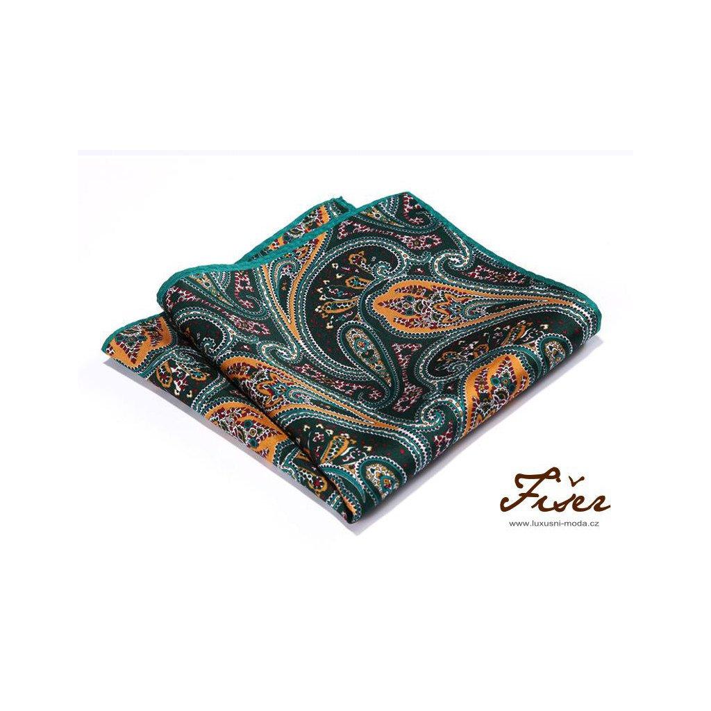 Luxusní hedvábný kapesníček zeleno oranžový paisley