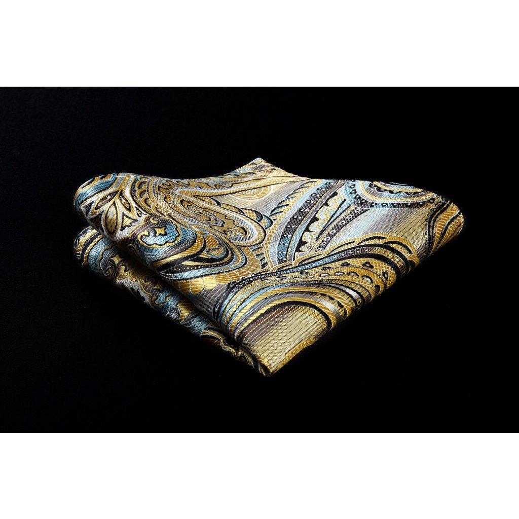 Luxusní hedvábný kapesníček žlutý vzorovaný