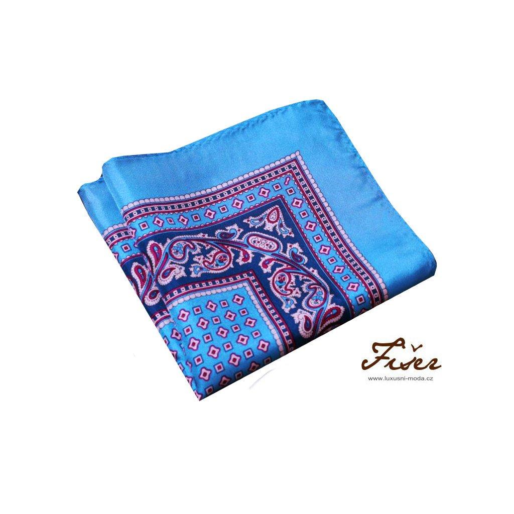 Světle modrý hedvábný kapesníček