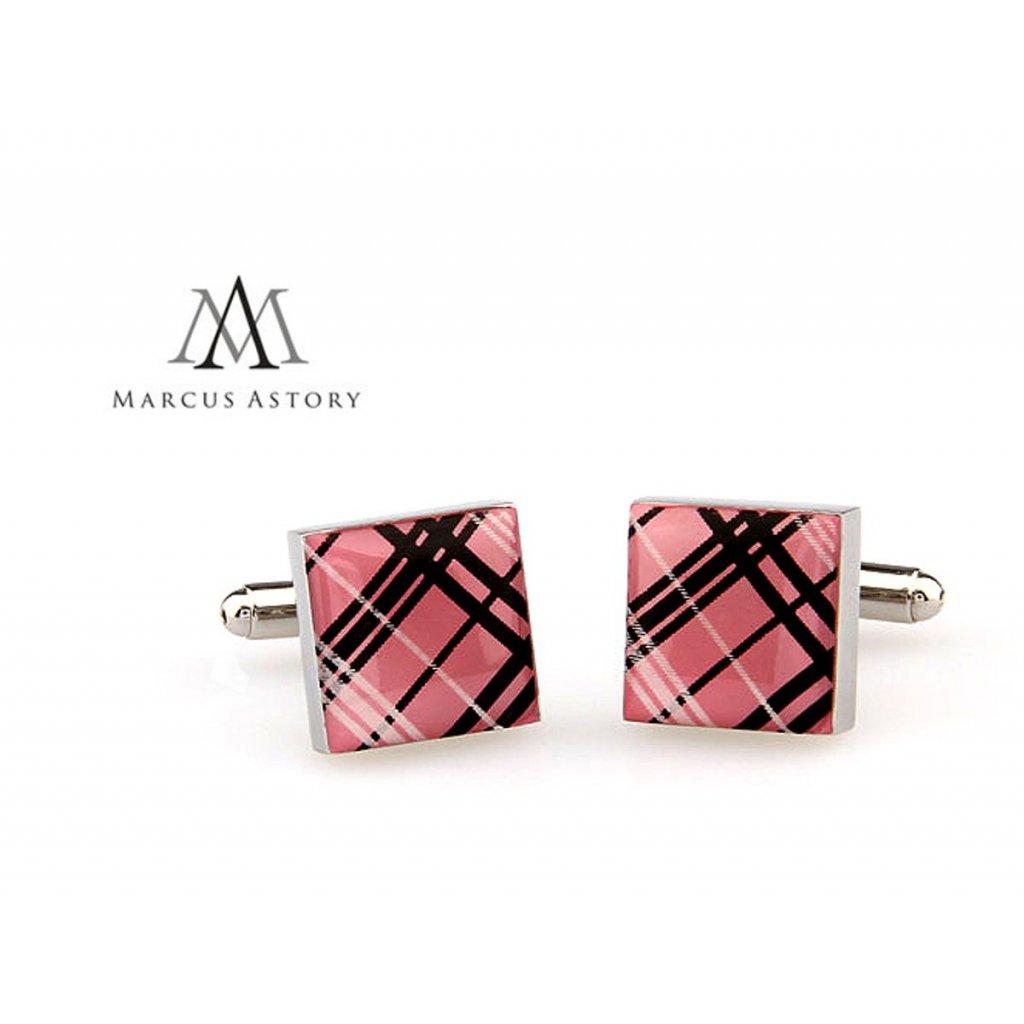 Luxusní manžetové knoflíčky Marcus Astory čtverec růžové