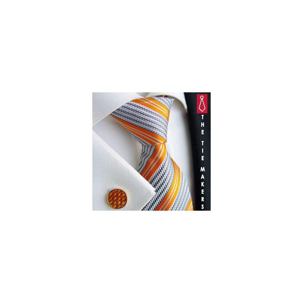 Luxusní hedvábná kravata šedá s oranžovým pruhem 212-2