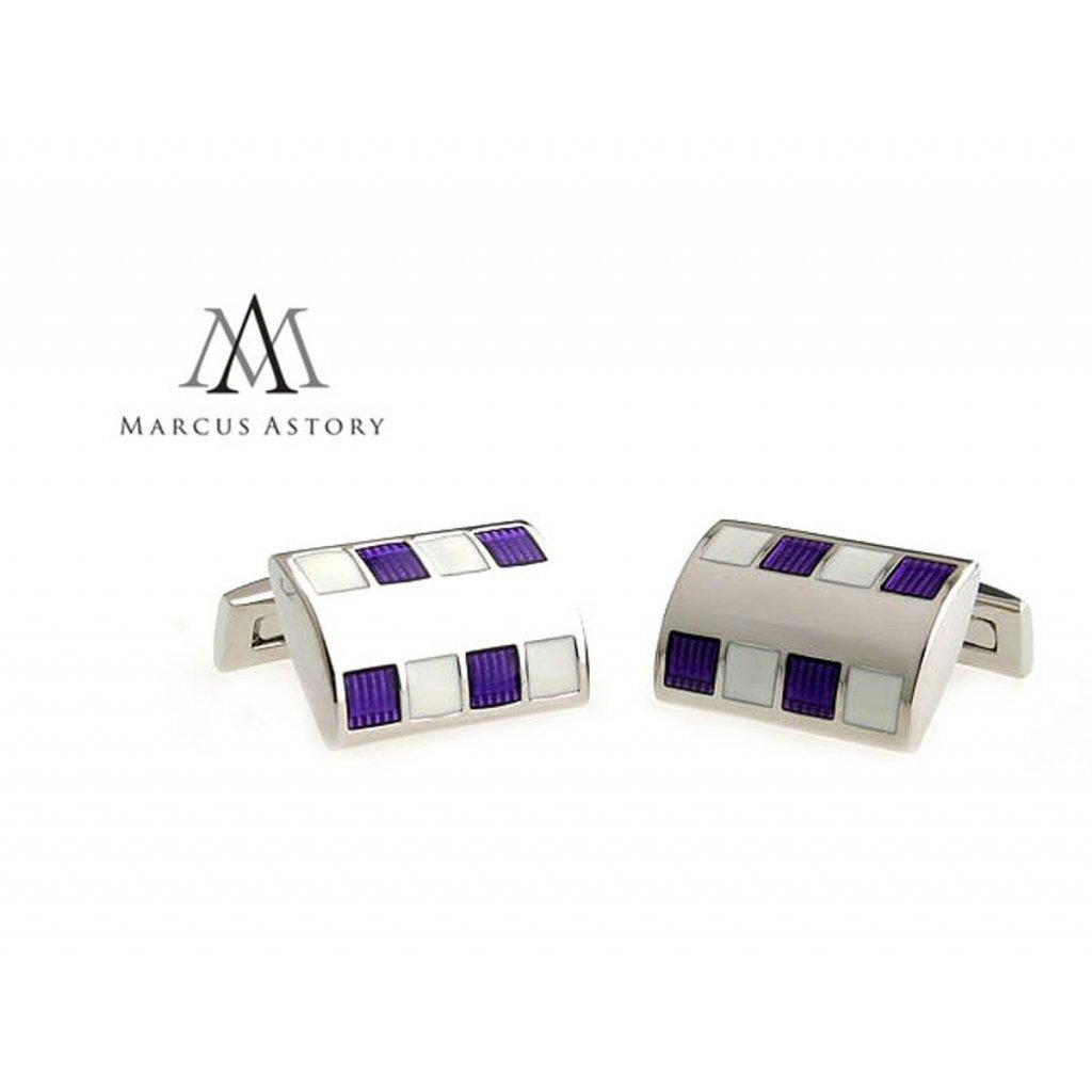 Luxusní manžetové knoflíčky Marcus Astory fialovo bílé