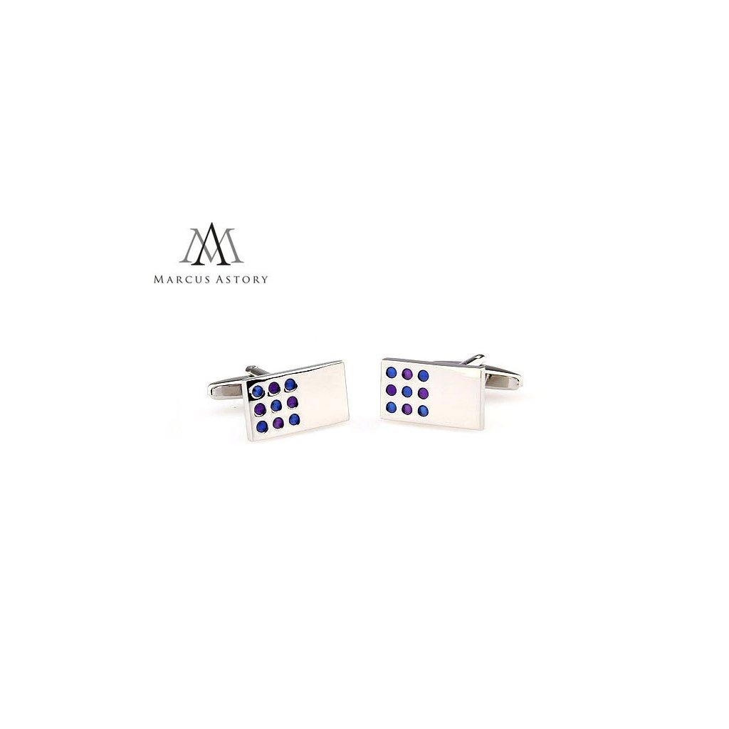 Luxusní manžetové knoflíčky Marcus Astory obdelník s tečkou