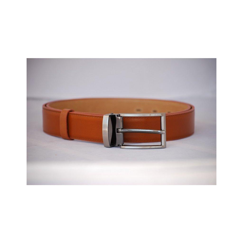 Pánský kožený pásek s trnovou sponou - oranžovo hnědý