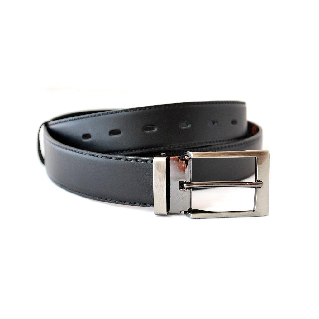 Pánský kožený pásek s trnovou sponou černý
