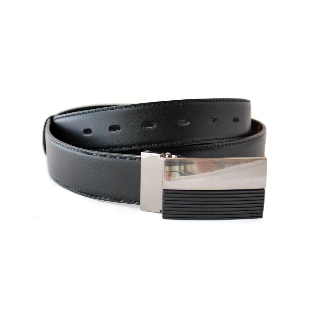 Pánský pásek s plnou sponou černý - KOMBINACE
