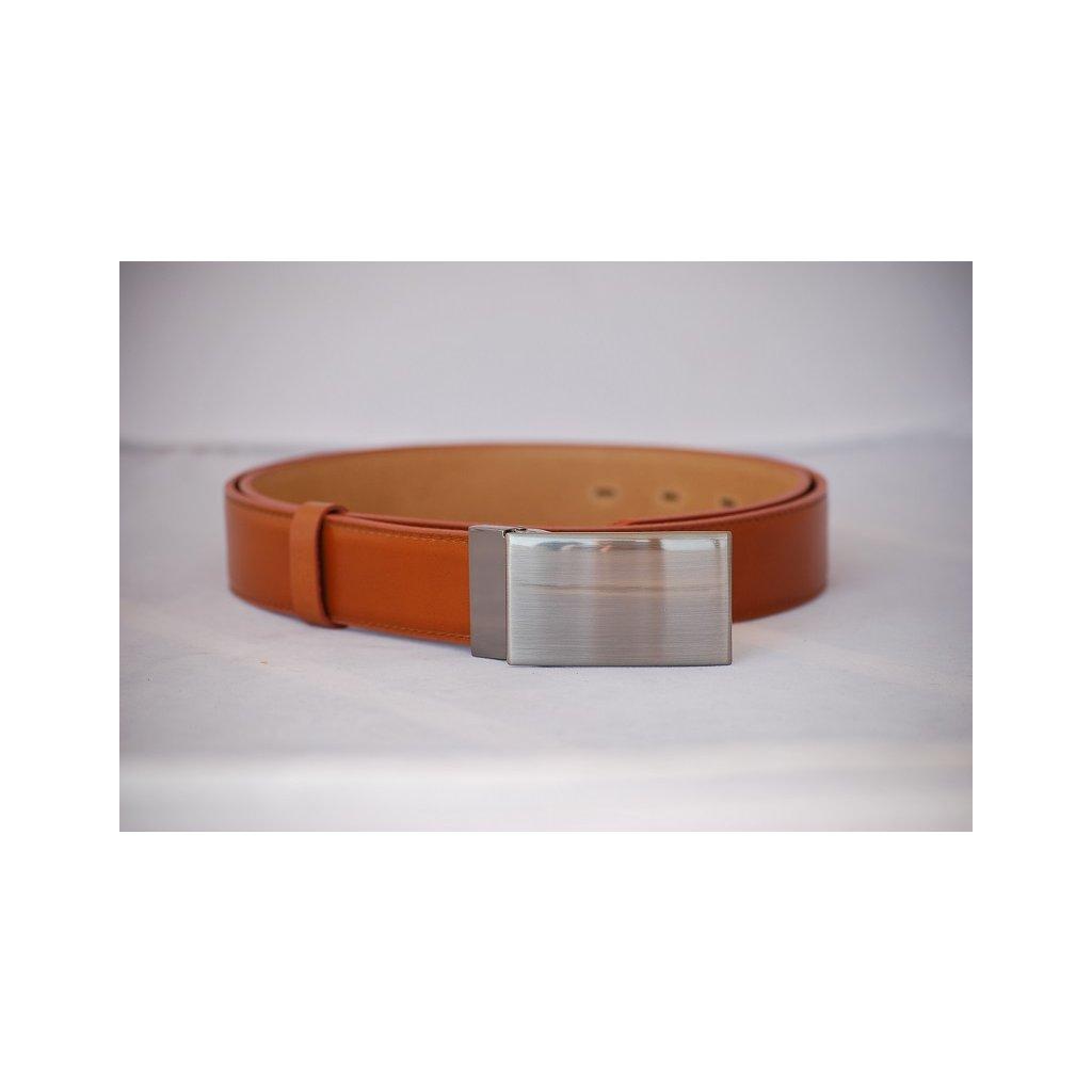 Pánský kožený pásek s plnou sponou oranžovo hnědý LM2