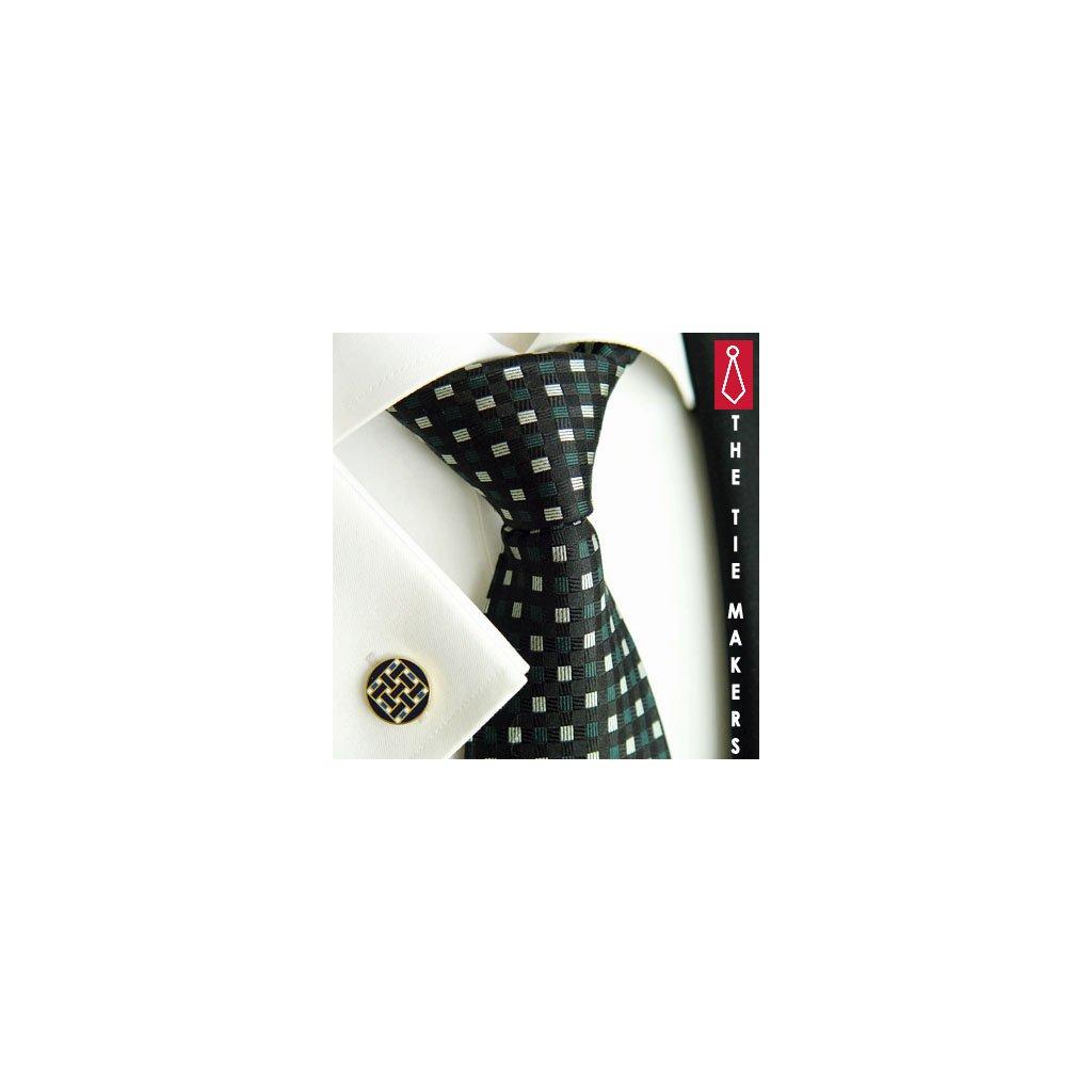 Luxusní hedvábná kravata černá s kostkou 215-1