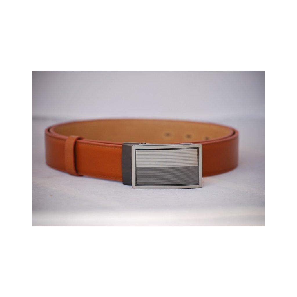 Pánský kožený pásek oranžovo hnědý - plná spona LM3