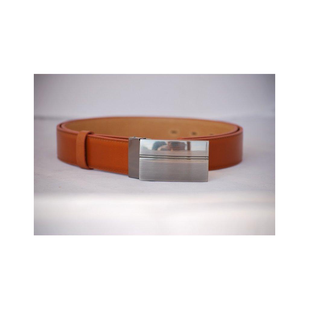 Pánský kožený pásek oranžovo hnědý - plná spona LM5