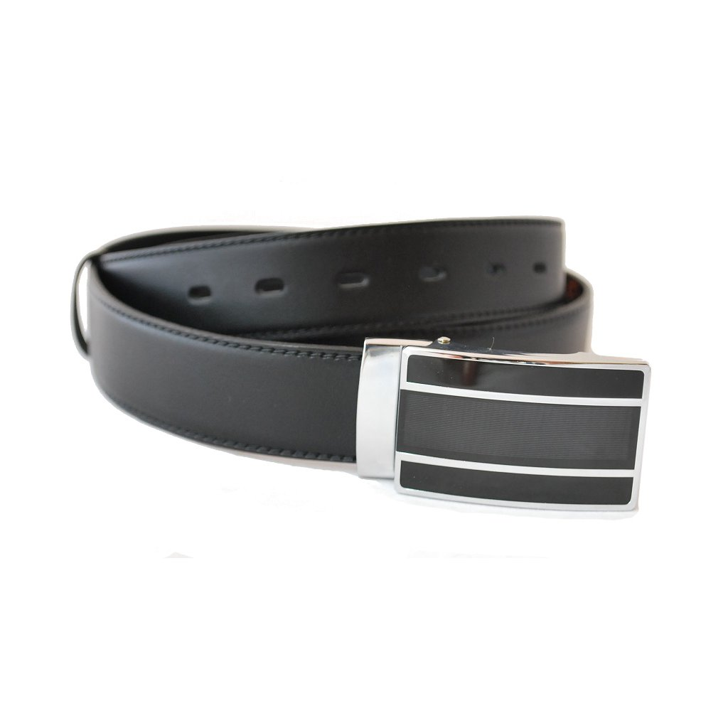 Černý kožený pásek s luxusní sponou