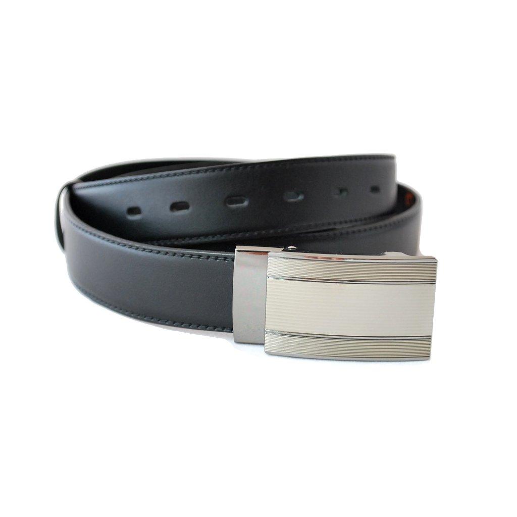 Černý kožený pásek s luxusní sponou LM4