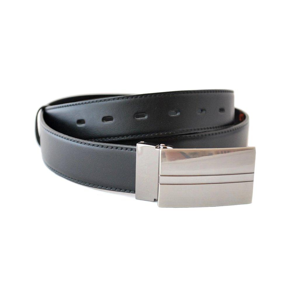 Černý kožený pásek s plnou sponou LM7