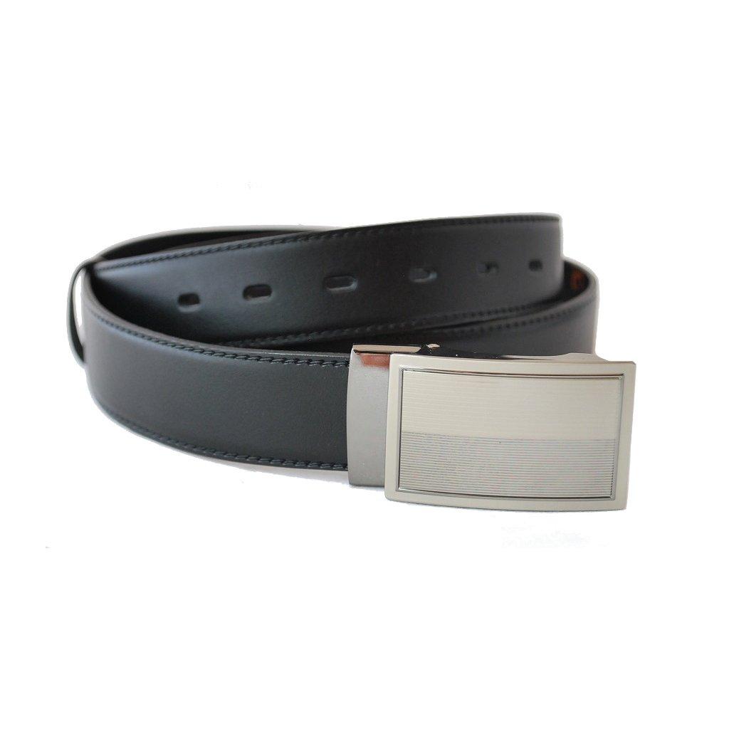 Černý kožený pásek s plnou sponou LM3