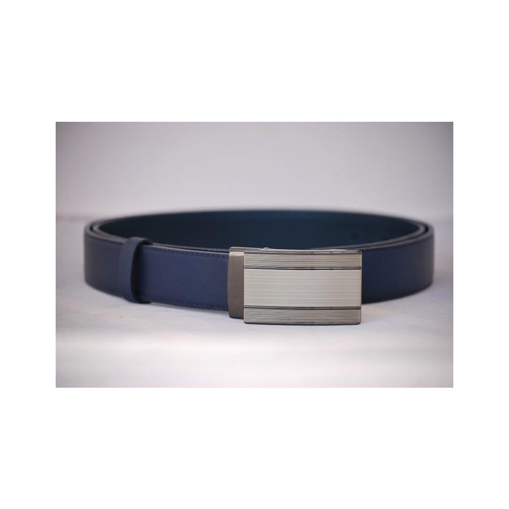 Pánský kožený pásek modrý- luxusní spona LM4