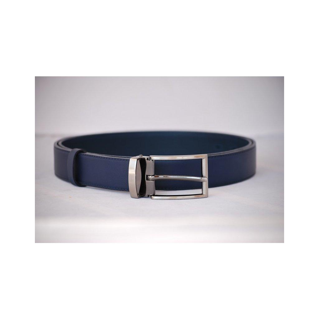 Pánský kožený pásek modrý- trnová spona