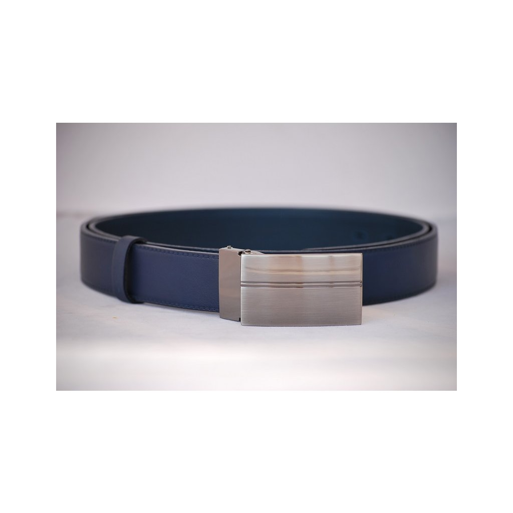 Pánský kožený pásek modrý- plná spona LM5