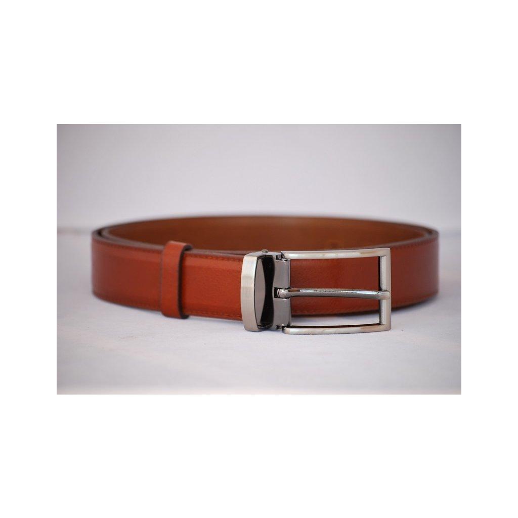 Pánský kožený pásek červenohnědý - trnová spona