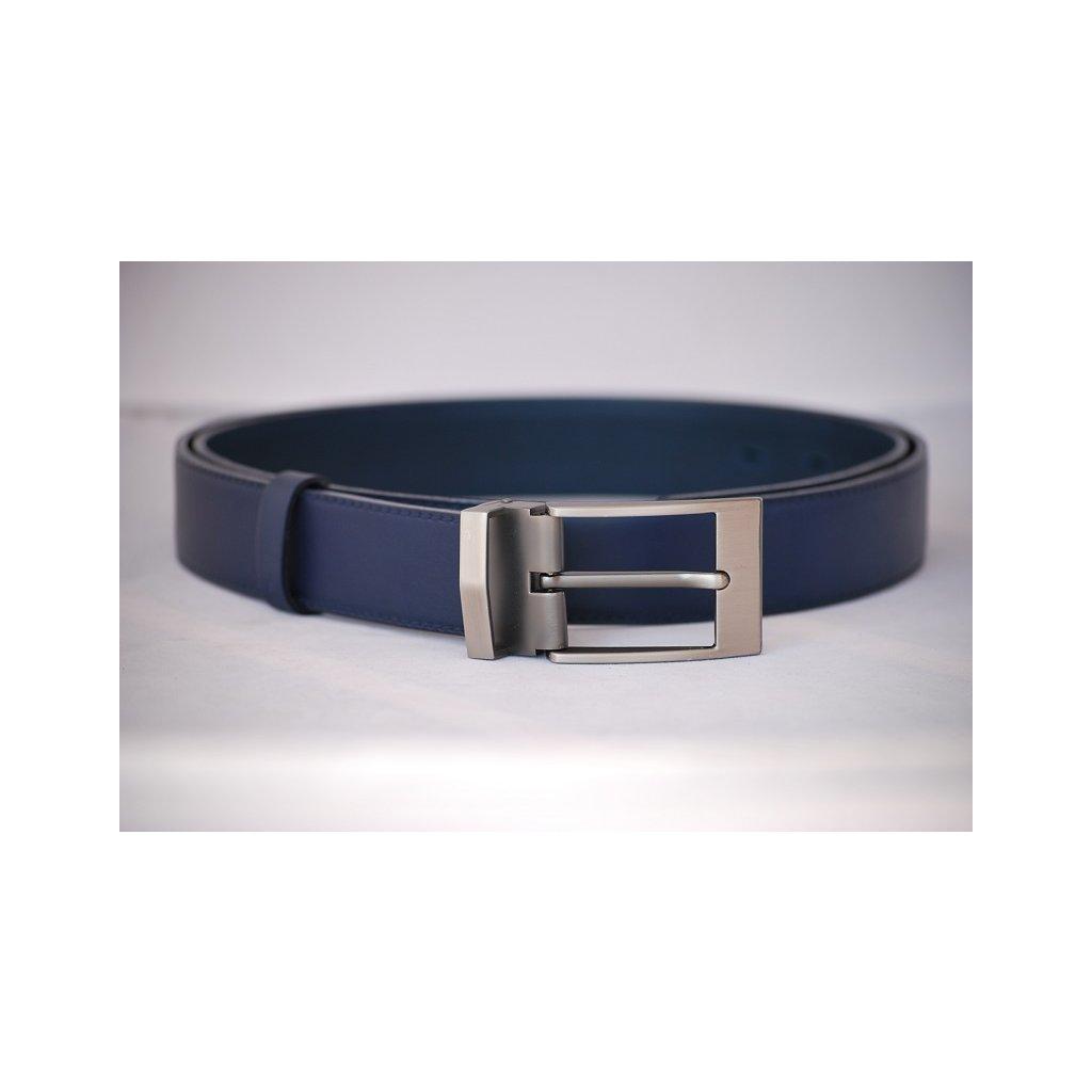 Pánský kožený pásek modrý - trnová spona mat